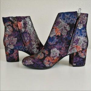Zigi Soho Black Floral Ankle Boots Booties Heels